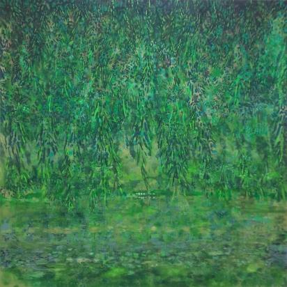 'Green Velvet Dawn' oil on canvas 200x200cms